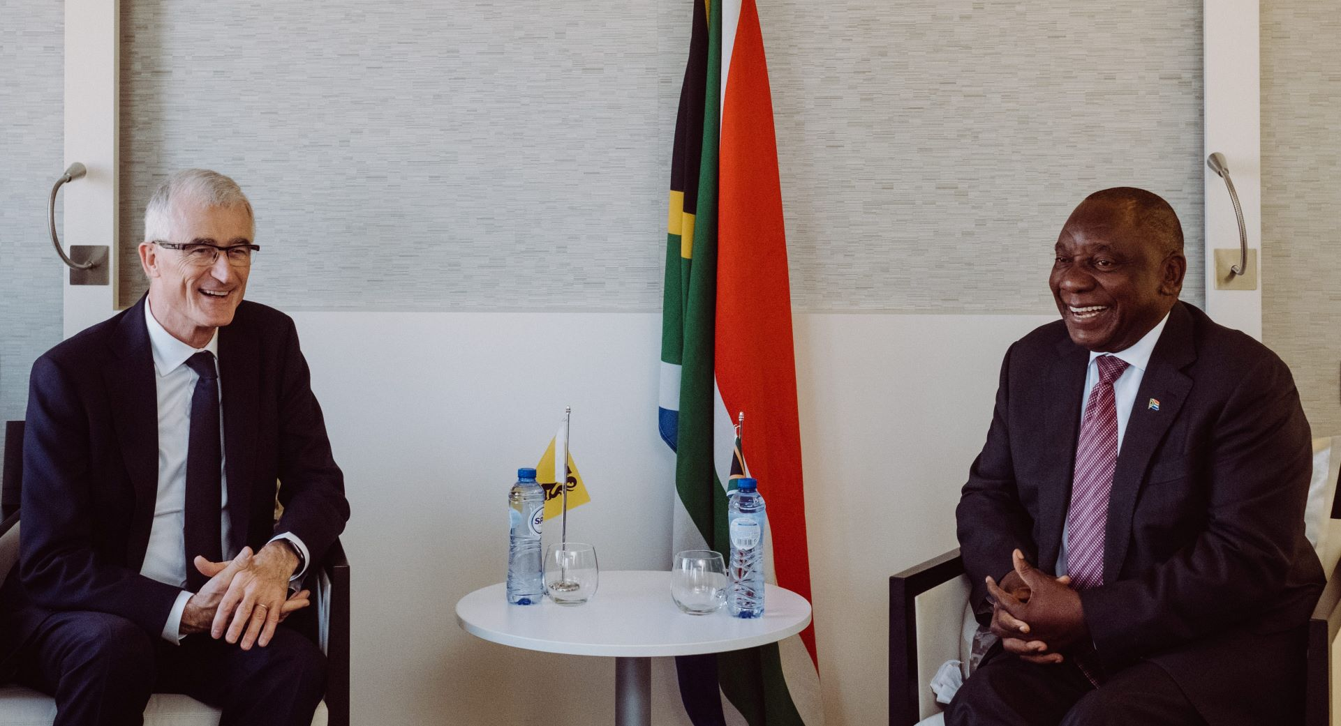 Minister-president Bourgeois and President Ramaphosa in Brussels